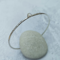 Sterling Silver Moonstone Bangle, June Birthstone Bracelet - BAN029