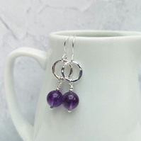Amethyst and Sterling Silver Drop Earrings, Hoop Earrings, SILV097