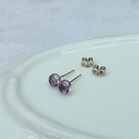 Amethyst Stud Earrings - Silver Stud Earrings - Small Stud Earrings - STUD146