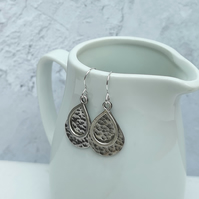 Sterling Silver Large Hammered Teardrop Layered Earrings - SILV099