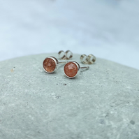 Sunstone Stud Earrings - Silver Stud Earrings - Small Stud Earrings - STUD147