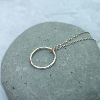 Silver Circle Necklace - Hammered Silver Necklace - PEN026