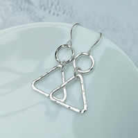 Sterling Silver Geometric Triangle Earrings - SILV105