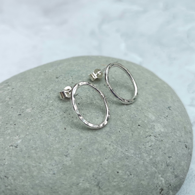 Sterling Silver Oval Stud Earrings - STUD150