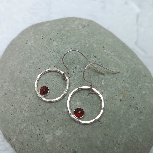 Sterling Silver and Red Garnet Earrings - Silver Hoop Earrings - SILV112
