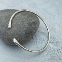 Sterling Silver Hammered Cuff Bangle - BAN034