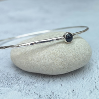 Sterling Silver Blue Sapphire Gemstone September Birthstone Bangle - BAN046