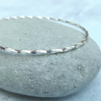 Sterling Silver Twisted Slim Bangle - BAN043