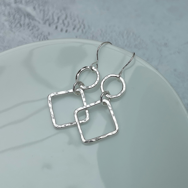 Sterling Silver Geometric Square Earrings - SILV106