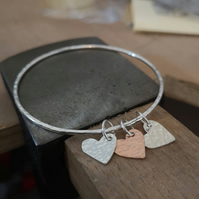 Sterling Silver and Copper Heart Charm Bangle - BAN045