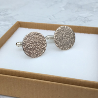 Sterling Silver Textured Cufflinks - CUF004