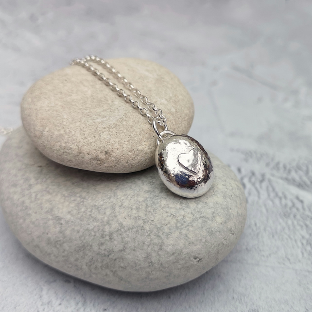 Sterling Silver Heart Pebble Necklace - NEK059
