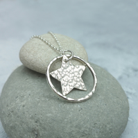 Sterling Silver Star and Circle Necklace - NEK053