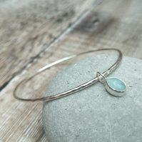 Sterling Silver Gemstone Charm Bangle, Aquamarine Bangle - BAN039