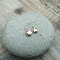 Sterling Silver Pebble Earrings with Copper Hearts - SILV122
