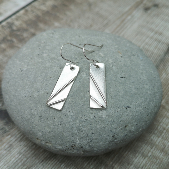 Sterling Silver Geometric Rectangle Earrings - SILV119