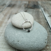 Sterling Silver Hammered Ring Charm Necklace - PEN045