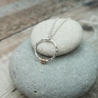 Sterling Silver Hammered Ring Necklace with Gold Detail - PEN042