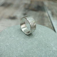 Sterling Silver Wide Textured Hammered Ring Band - Made to Order - RNG025