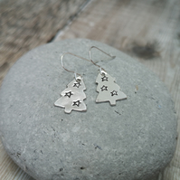 Sterling SIlver Christmas Tree Earrings - SILV071