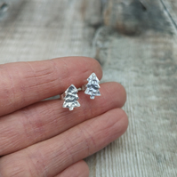 Sterling Silver Christmas Tree Stud Earrings - STUD155