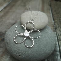 Sterling Silver Wire Flower Large Statement Pendant Necklace - NEK037