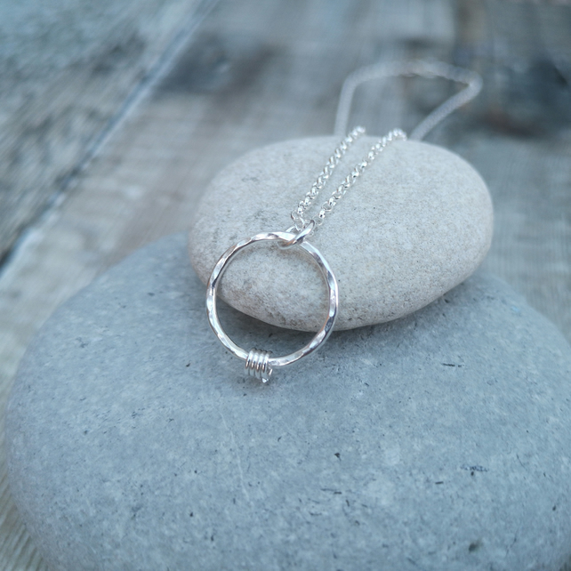 Sterling Silver Ring Charm Necklace - PEN044