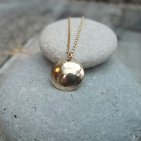 12ct Yellow Gold Disc Necklace, Hammered Gold Necklace