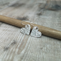 Sterling Silver Hammered Heart Earrings