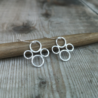 Sterling Silver Hammered Circle Bubble Earrings