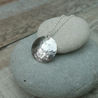 Hammered Sterling Silver Disc Necklace