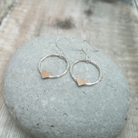 Sterling Silver and 9ct Rose Gold Circle Earrings with Hearts
