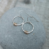 Sterling Silver and 9ct Gold Filled Hammered Circle Earrings