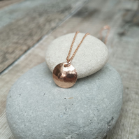 12ct Rose Gold Disc Necklace, Hammered Gold Necklace