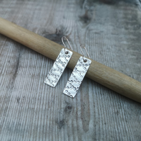 Sterling Silver Patterned Rectangle Earrings