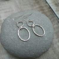 Sterling Silver Oval and Circle Linked Drop Earrings