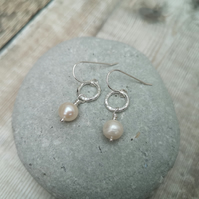 Pearl and Sterling Silver Drop Earrings, Hoop Earrings, SILV098