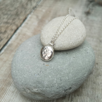Silver Pebble Necklace, Silver Necklace, Hammered Silver Necklace - PEN043