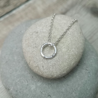 Small Circle Necklace, Silver Circle Necklace, Hammered Necklace - NEK054