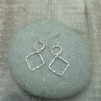 Sterling Silver Square and Circle Earrings, Geometric, Link, Drop - SILV106