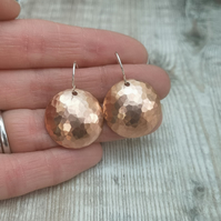 Large Hammered Copper Dome Disc Earrings with Sterling Silver Hooks