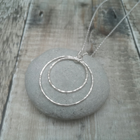 Sterling Silver 2 Circle Long Length Statement Necklace