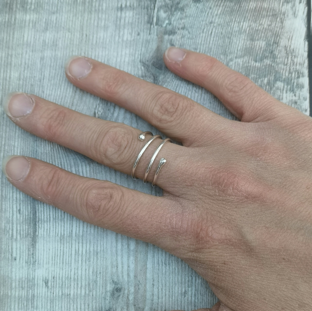 Sterling Silver Spiral Wrap Around Wide Ring Band