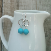 Turquoise and Sterling Silver Drop Earrings, Hoop Earrings