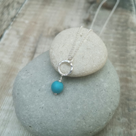 Sterling Silver Circle and Turquoise Pendant Necklace
