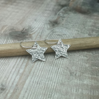 Sterling Silver Hammered Star Earrings