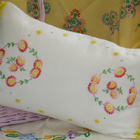 Vintage Embroidered Hand Made Cushion in Reds and Yellows