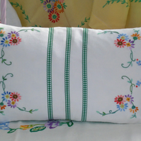 Vintage Embroidered Hand Made Cushion in Multi Colours and Greens