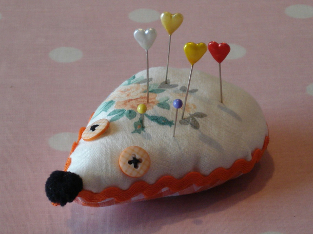 Vintage Fabric Hedgehog Pin Cushion or Brooch Cushion - Orange Floral