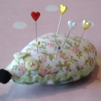 Vintage Fabric Hedgehog Pin Cushion or Brooch Cushion - Green Floral